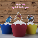 12x Winnie the Pooh EDIBLE wafer stand up toppers PRE-CUT