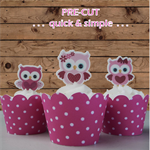 12x pink owls EDIBLE wafer stand up toppers PRE-CUT
