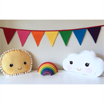 Rainbow coloured fabric bunting banner flags