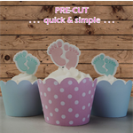 12x baby feet EDIBLE cupcake cake toppers PRE-CUT stand up baby shower boy girl
