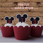 12x Mickey Mouse ears 1st 2nd 3rd birthday EDIBLE wafer stand up toppers PRE-CUT