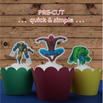 12X Marvel super heroes EDIBLE stand up toppers PRE-CUT