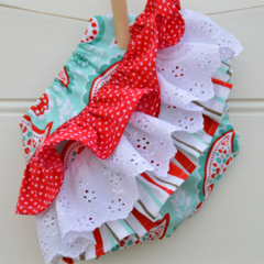Ruffle bloomers - paisley, stripes, aqua and red, baby girl gifts