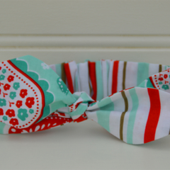 Paisley headknot - aqua and red, girls gifts,