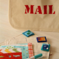 Postcard game - fabric postcards, stamps and pen in mail bag - vehicles 1