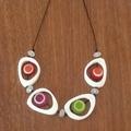 White & Multi Coloured Resin Necklace