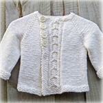 Hand knitted baby jacket wool and cotton slub mix. Unisex.