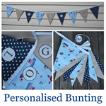 Personalised Bunting, blue/navy/nat, Little Boats