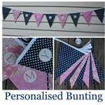 Personalised Bunting navy/wht Bella Bunting