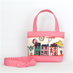 Mini Tote Bag & Matching Knot Headband for Little Girls - Pink Houses