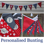 Personalised Bunting red/navy/white