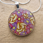 Polymer Clay Flower Cane Resin Pendant Necklace, Fashion Jewellery, Women's Jewe