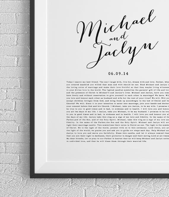 PRINTABLE Wedding Vows Keepsake Print for Newlyweds & Anniversaries ...
