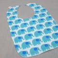 baby bib - aqua elephants / organic cotton and hemp fleece