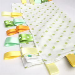 FREE POST * GREEN POLKADOTS Baby Security Blankie Taggie Toy + FREE Taggie Saver