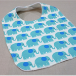 baby bib - aqua elephants / organic cotton and hemp fleece