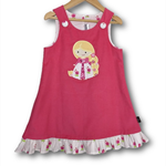 SIZE 3 Candy Pink Corduroy Applique Embroidered Pinafore - Princess