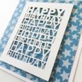 Happy birthday laser cut blue stars male brother son father dad friend card