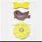 Glitter Bird, Bow & Chiffon Flower Hair Clip Set - Yellow