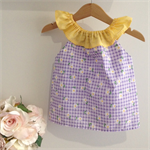SIZE 00 Purple gingham and daisies ruffle top