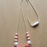 Silicone teething Necklace -Rose in Blush&Metallic-