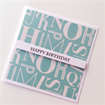 Aqua teal happy birthday with alphabet friend brother  dad father son mate card