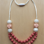 Silicone teething Necklace -Poppy in Blush&Metallic-