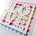 LOVE laser cut bright rainbow colour hearts anniversary engagement wedding card
