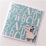 Alphabet aqua teal with wooden bunny rabbit blank general friend for you card