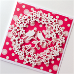 Paper blooms wreath with lovebirds red love valentine's day card