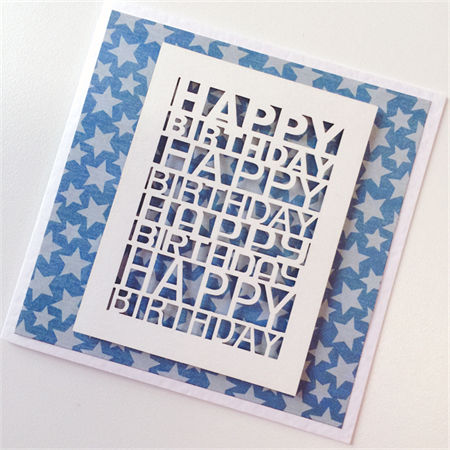 Happy Birthday Laser Cut Blue Stars Male Brother Son Father Dad Friend Card