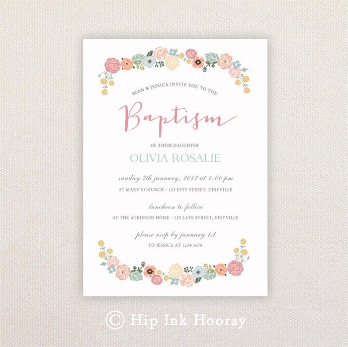 Girls Christening/baptism Invitations. Floral border. I Customise, You Print.   Hip Ink Hooray ...