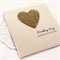 Personalised Wedding card gold glitter heart