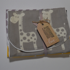 Burp Cloths - Set of 3 - Super Absorbent - Grey Giraffe, Yellow Giraffe -chevron