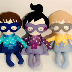 Personalised superhero doll with embroidered name.