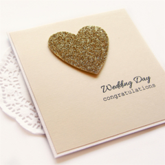Personalised Wedding card gold glitter heart bride groom commitment ceremony
