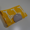 New Nappy Wallet fits all wipes. Yellow Giraffe