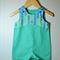 Boys' short overalls romper  jade  cotton drill arrows navy blue mint contrast