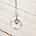 Personalised Puff Love Heart Name Hand Stamped Necklace
