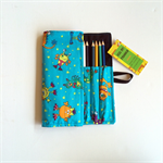 Lge Blue Monster Print Pencil Roll - inc 24 pencils, retro, school, colour