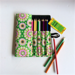 Lge Green Flower Pencil Roll - inc 24 pencils, retro, school, colour, geometric