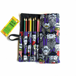 Lge Vampire Print Pencil Roll - inc 24 pencils, school, colour, ghoul, monster