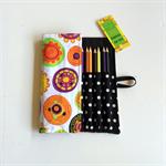 Lge Geometric Flower Print Pencil Roll - inc 24 pencils, school, colour, retro