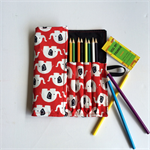 Large Red Elephant Print Pencil Roll - holds 24 pencils, retro, school, colour
