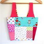 Linda Lunch / Small Market Bag - Pretty Patchwork Hula Hoop Girl with dots
