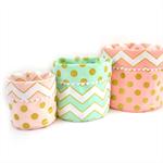 GLITZ Reversible Fabric Bucket Trio in Dots & Chevron - Blush, Confection & Mist