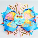 Bella 'Owl' Bow - Pink & Blue