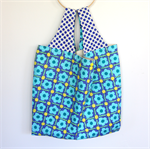 Large Market Carry Bag - Blue Flowers, Yellow Dots
