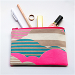 Bright pink, beige and teal Zipped Pouch or Pencil case