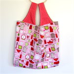 Large Market Carry Bag - Kitchen Utensils on Pink